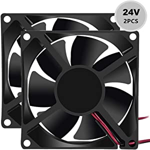 Dorhea 80mm x 80mm x 25mm Fan DC 24V 8025 Brushless Cooling Fan for Cooling PC Computer Case CPU Coolers Radiators 2pin (Pack of 2Pcs)