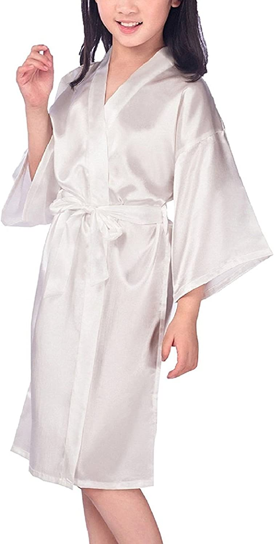 Hammia Bambini Ragazza Kimono Vestaglia Pigiama Raso di seta del Colore puro Robe Accappatoio per matrimoni nuziali