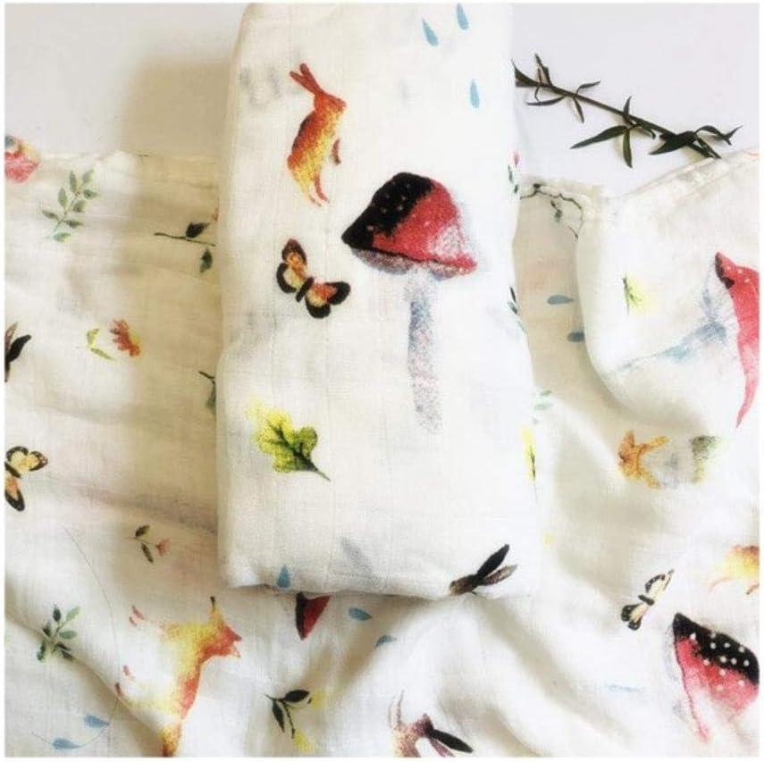 Manta de muselina de bamb/ú org/ánico 120 x 120 cm de gasa de algod/ón para beb/é reci/én nacido conejo Talla:1