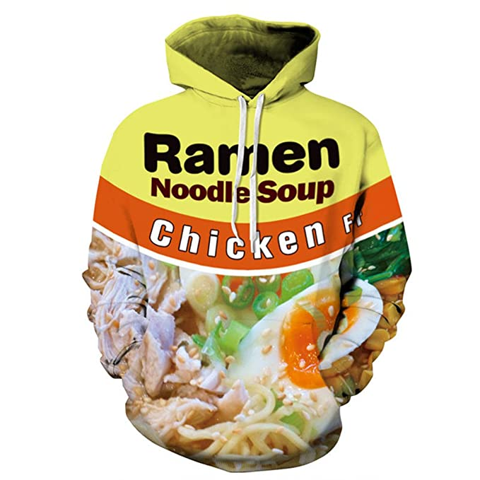 9125c9b5e221 Fsanly 3D Hoodie Clothing Ramen Noodle Soup Print Sweatshirt  Pork Chicken Beef Funny Hooded Pullovers  Amazon.co.uk  Clothing