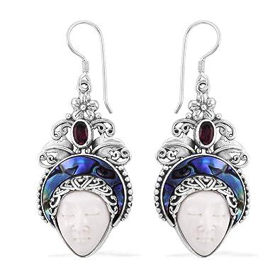 a8449dff4 Amazon.com: 925 Sterling Silver Oval Rhodolite Garnet Abalone Shell Dangle  Drop Earrings Jewelry for Women: Jewelry