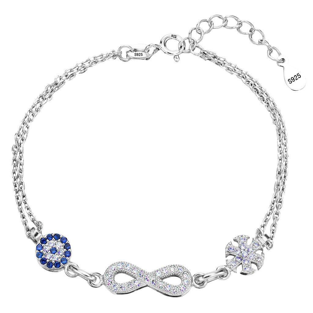 Ever Faith 925 Sterling Silver CZ Blue Evil Eye Figure 8 Infinity Snowflake Flower Link Bracelet Clear N07697-1