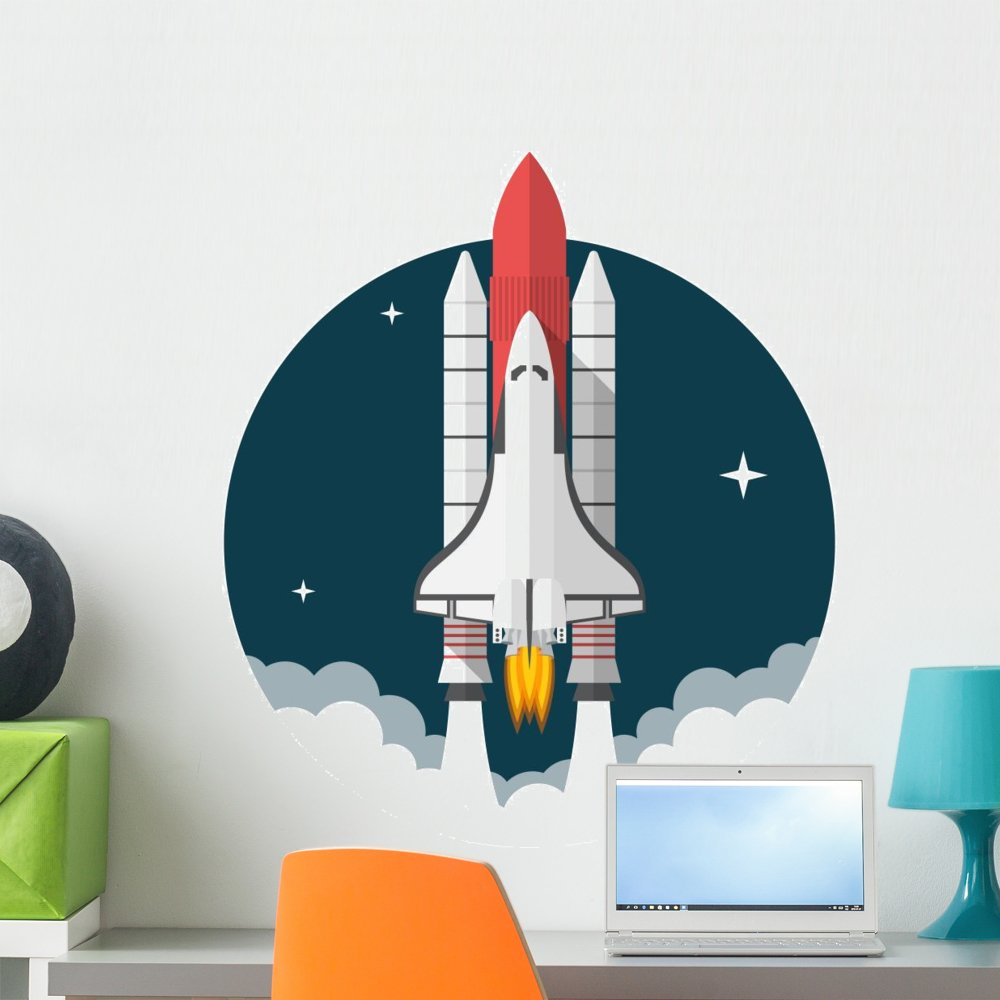 Wallmonkeys Space Shuttle Wall Decal Peel and Stick Graphic (24 in H x 24 in W) WM58455