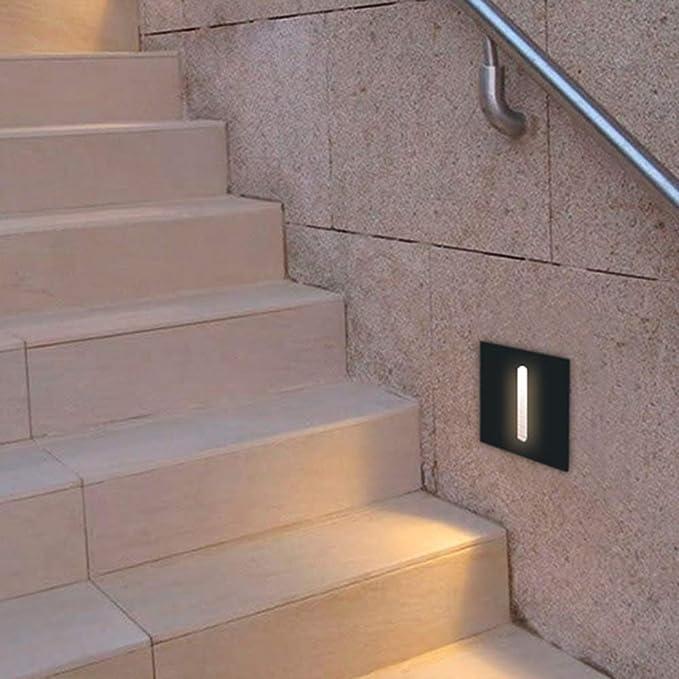 KHEBANG LM6192 Baliza LED Escalera 3 W Luz Color Cálido Amarillo 3001K,Negro: Amazon.es: Iluminación