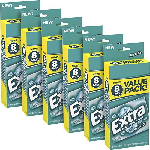 Extra Polar Ice Sugarfree Gum, 6 value packs (48 packs total)