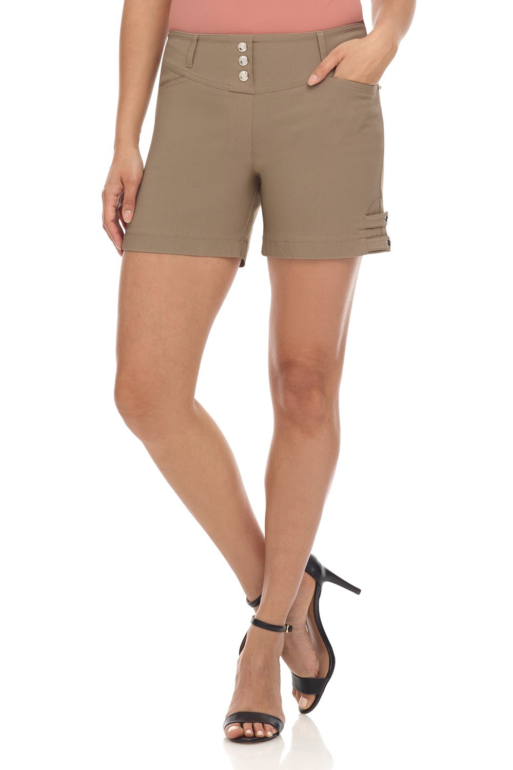 Rekucci Women's Ease Into Comfort Stretchable Pull-On 5'' Slimming Tab Short (14,Oatmeal)