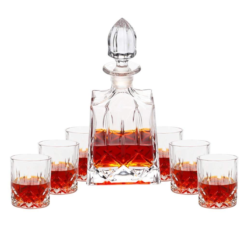LDG ヨーロッパスタイルのデカンタークリスタルガラスカップ家庭用ウィスキーカップ厚いボトムワインボトル850ml / 300ml 7ピースセット B07Q4CH3CP