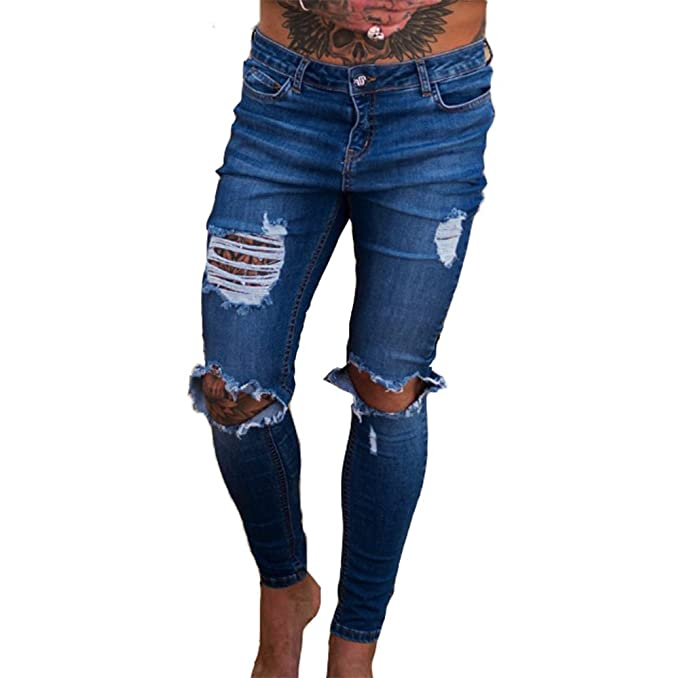 6a26b1acd Vaqueros Denim Jeans Super Stretch Skinny Jeans Hot New Ripped Distressed  Denim Pantalones Handsome Cool