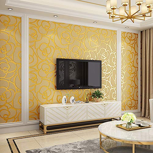 Blooming Wall Extra-Thick Modern Non-Woven Leaf Flows Pattern Wallpaper Wall Paper Roll for Livingroom Bedroom, Gold Rose ()