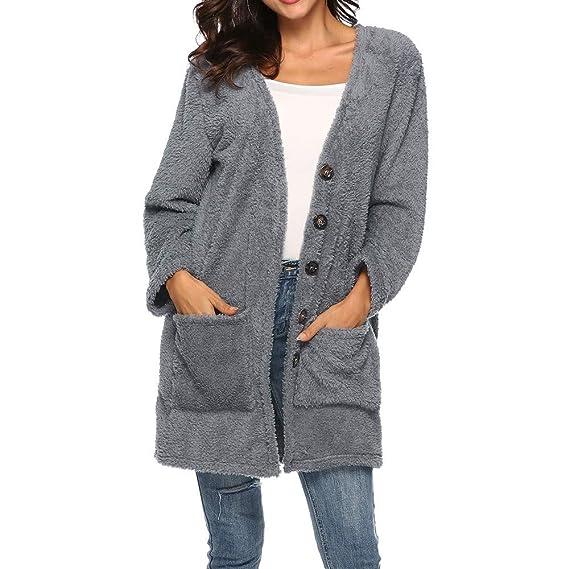 Damen Wasserfall Cardigan Strickjacke Winter Mantel Jacke Pullover Top Longshirt