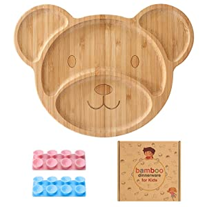 YISUYA Bamboo Kids Plates, Bear Shaped Bamboo Suction Plates for Toddlers, Divided Bamboo Feeding Plates with 4 Sections, Baby Tableware for Weaning Babies - 9 Months and Older(Blue+Pink)