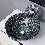 Lavabo sobre encimera de Lavabo para guardarropa de baño, Lavabo de Vidrio Templado Lavabo Minimalista Moderno para Fregadero con Grifo de Cascada,B