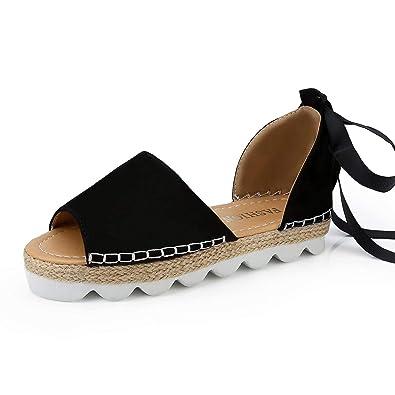 682d15c626b6 Womens Espadrille Sandals Summer Strappy Platform Flat Peep Toe Roman  Wedges Beach Open Toe Comfy Gladiator