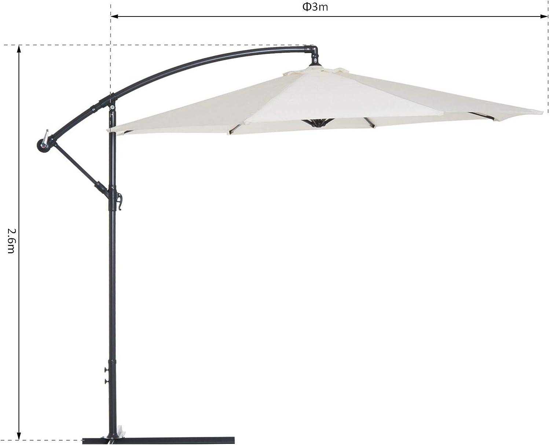 Outsunny Homcom - Sombrilla de jardín (3 m, Parasol para jardín, Patio, Banana, para Colgar, ratán, Paraguas, Color Crema: Amazon.es: Jardín