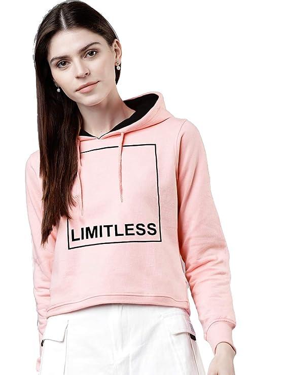 Maniac Printed Women's Fullsleeve Pink Cotton Crop Sweatshirt