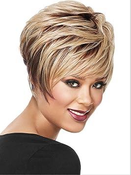 Meydlee Pelucas UE y EEUU de moda mix color capa rizada peluca corta completo + una