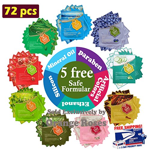 {Entel} 72 pcs VEGGIE Combo-Pack, Premium Korean Essence Facial Mask Sheet (9 Types x 8 pcs), Five Chemical Free : No Paraben, No Silicon, No Mineral Oil, No Artificial Colors,No Ethanol