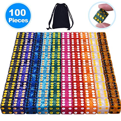 AUSTOR 100 Pieces 6- Sided Dice Set, 10 x 10 Pearl Colors Square Corner Dice with Free Velvet Pouches for Tenzi, Farkle, Yahtzee, Bunco or Teaching Math