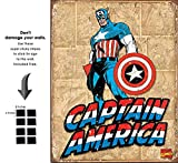 Captain America Retro Panels Marvel Comics Retro Vintage Decor Tin Sign 12.5 in Wx16 in H - With Sticky Stripes . No Damage to Walls