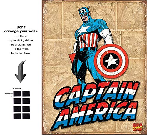 - Captain America Retro Panels Marvel Comics Retro Vintage Decor Tin Sign 12.5 in Wx16 in H - with Sticky Stripes No Damage to Walls