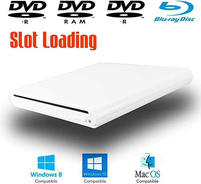 White USB External Blu-ray DVD CD Optical Drive for Acer Aspire E Series E15 E 15 E5-575 S 13 5 3 One 7 1 Laptop Notebook PC, Blue-ray Movies Portable Player, 8X DVD-R DVD-RAM 24X CD-R Writer