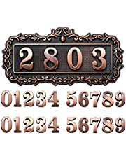 House Address Plaques Metal Address Sign Mailbox Number Plaque 0-9 European-style Retro Doorplate Address Signs Decorative Wall Plaque for House Home Hotel Office Garden