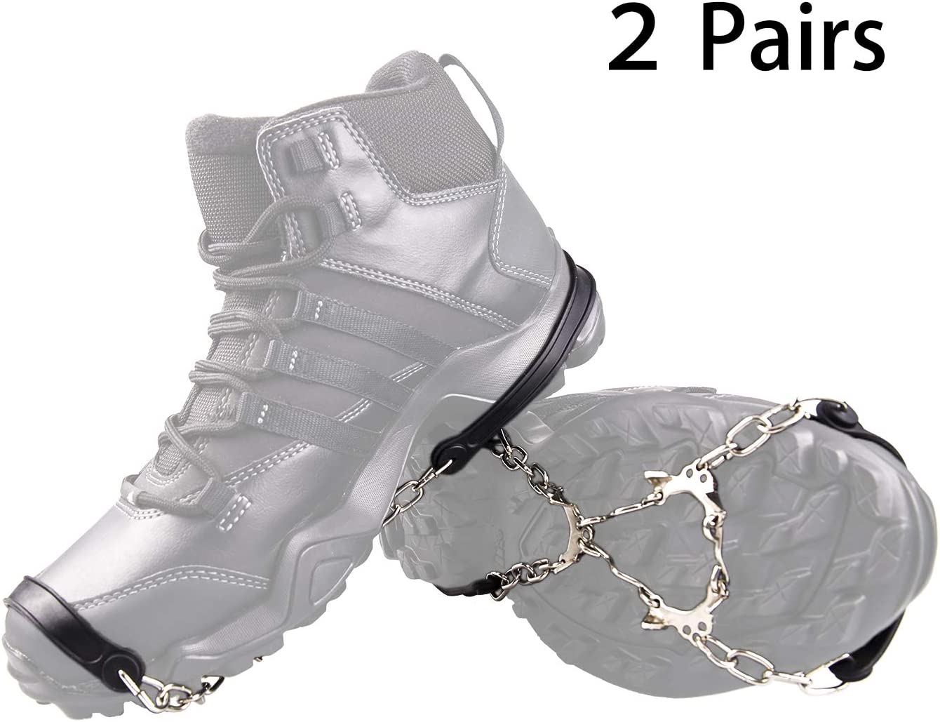 2 Pairs FANBX F Walking Traction Cleats 6 Point Spikes Cleats Traction Cleats Slip-on Stretch Footwear Crampons for Walking on Snow and Ice