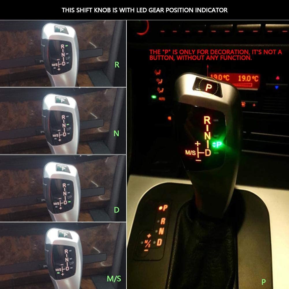 Schaltknauf LHD Automatischer LED Schaltknauf f/ür E90 E91 E93 E81 E82 E84 E87 E88 E89 Silver