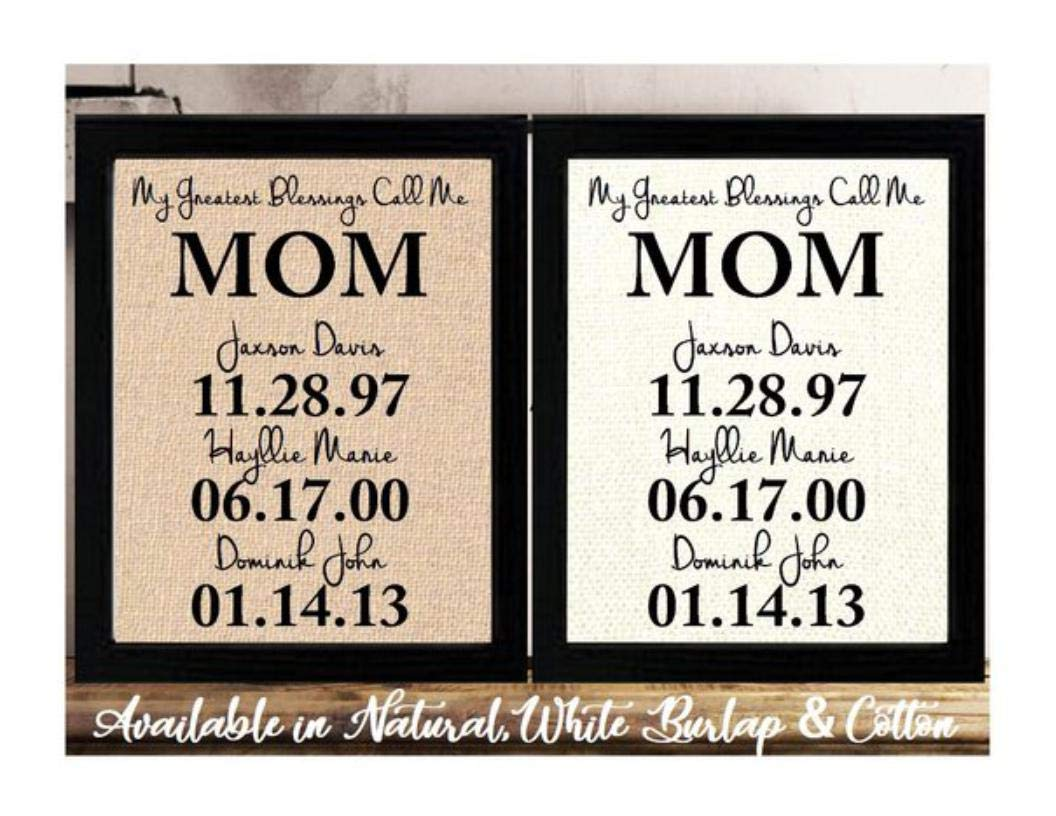 Amazon Com Personalized Christmas Gift For Mom Birthday Gift For Mom Burlap Or Cotton Print Christmas Gift From Daughter Or Son Personalized Children Kids Names Gift For Mom My Greatest Gifts Handmade