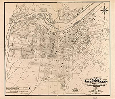 1873 Map of Louisville, Kentucky of the city of Louisville, Kentucky, New Albany
