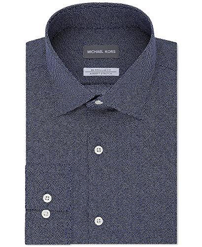 MICHAEL Michael Kors Men's Regular Fit Airsoft Stretch Non-Iron Performance Navy Print Dress Shirt (Blueberry, 14.5 X 32/33)