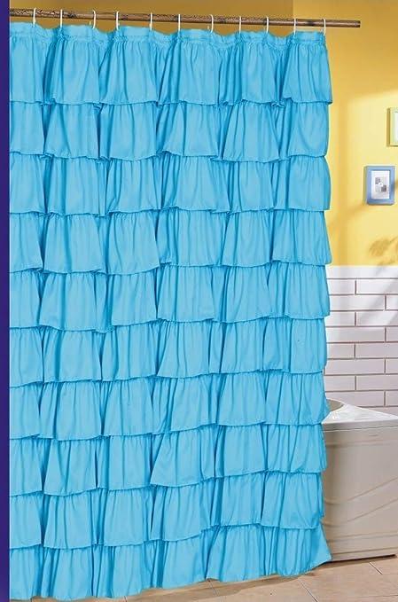 Amazon Spring Design Flamenco Ruffle Shower Curtain Blue