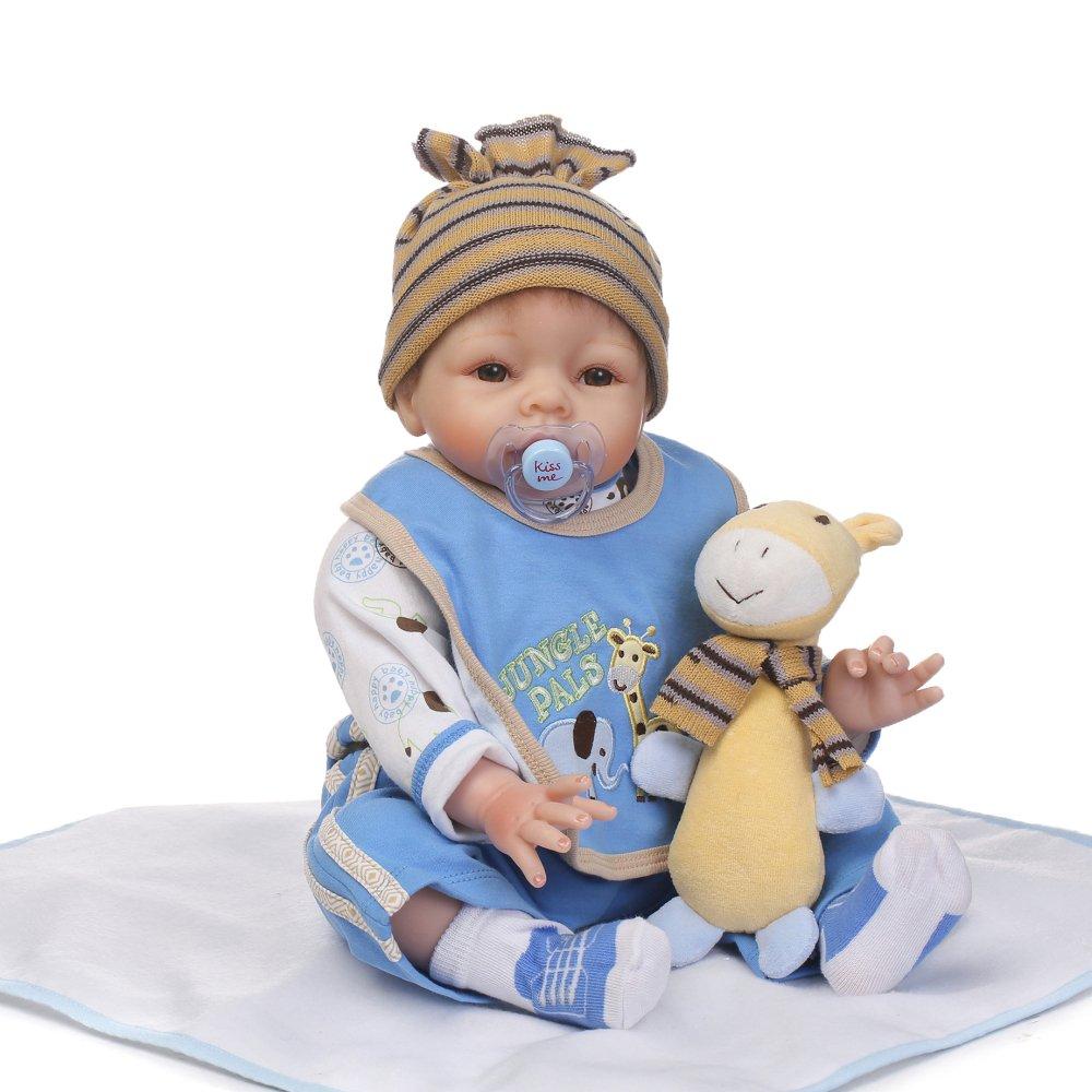 decdeal Rebornベビー人形ガールwith Giraffe Clothes Lifelikeかわいいギフトおもちゃ22インチ   B07BKX5GBV