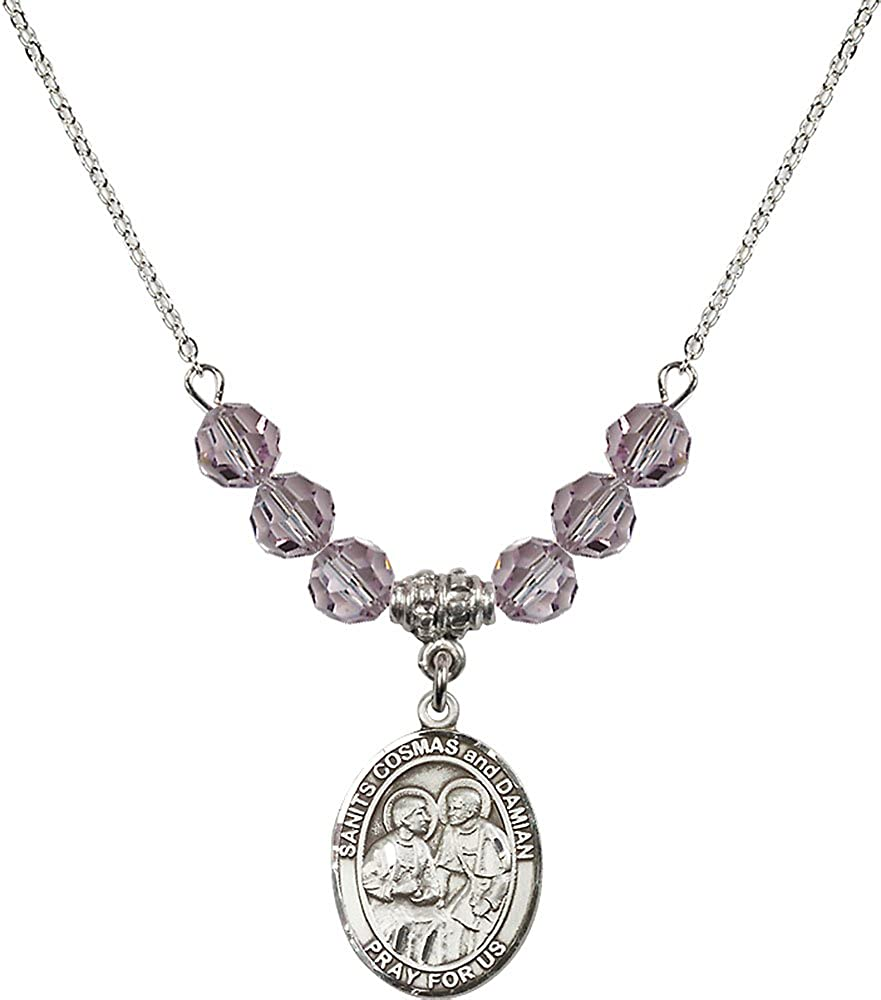 18-Inch Rhodium Plated Necklace with 6mm Light Amethyst Birthstone Beads and Sterling Silver Saints Cosmas /& Damian Charm.