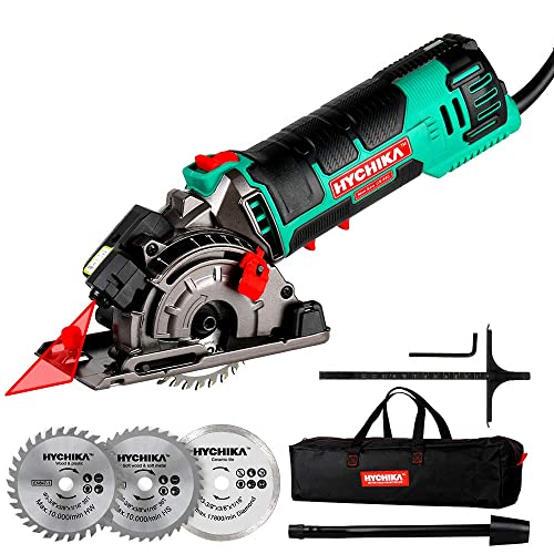 Mini Circular Saw, HYCHIKA Compact Circular Saw Tile Saw with 3 Saw Blades 4A Pure Copper Motor, 3-3 8 4500RPM Ideal for Wood, Soft Metal, Tile and Plastic Cuts, Laser Guide, Scale Ruler