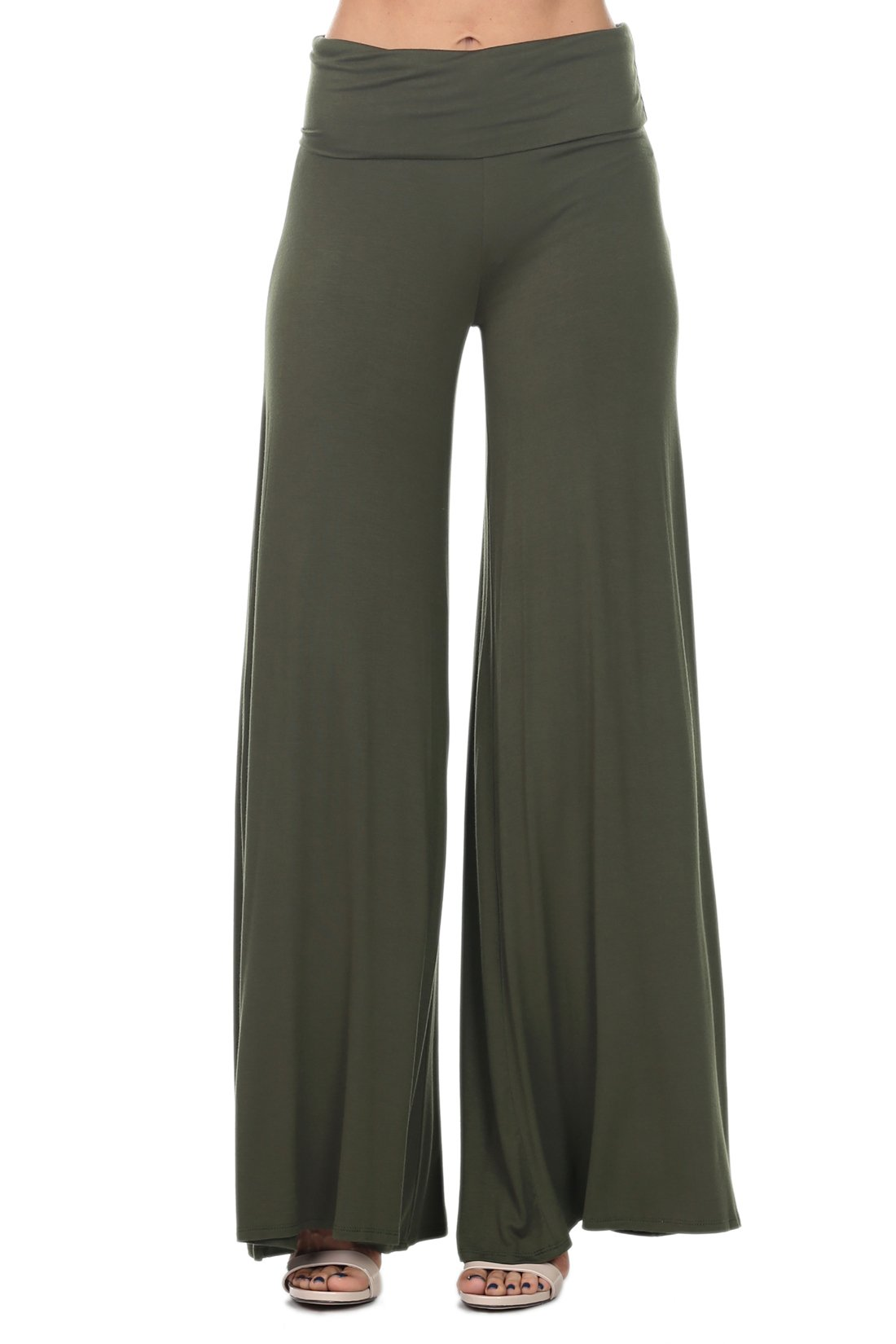 coul J WP502 Women's Comfy Chic Fold Over Waist Flare Wide Leg Palazzo Lounge Pants - Olive Green/Size: X-Large