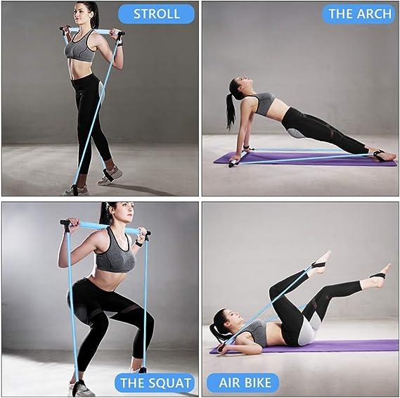 IKARE Kit de Barra de Pilates port/átil con 30LBS 50LBS Banda de Resistencia Yoga Pilates Stick para Estiramiento Entrenamiento Total del Cuerpo en el Hogar//Gimnasio