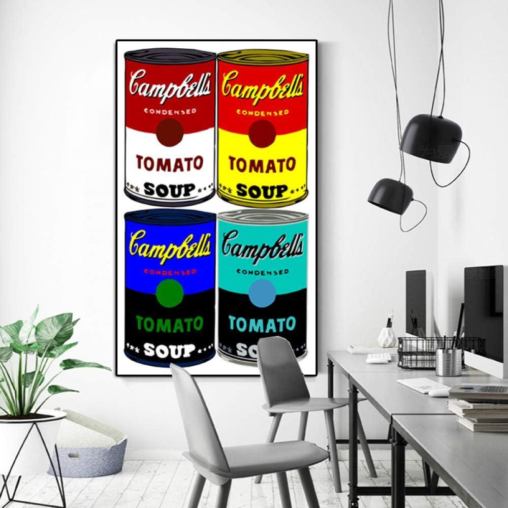 YHZSML Pintura al óleo Famoso Andy Warhol Campbell's Soup Clásico Arte de la Pared Pinturas sobre Lienzo Cuadros de Pared para la Sala de Estar Decoración Imágenes 50X80CM