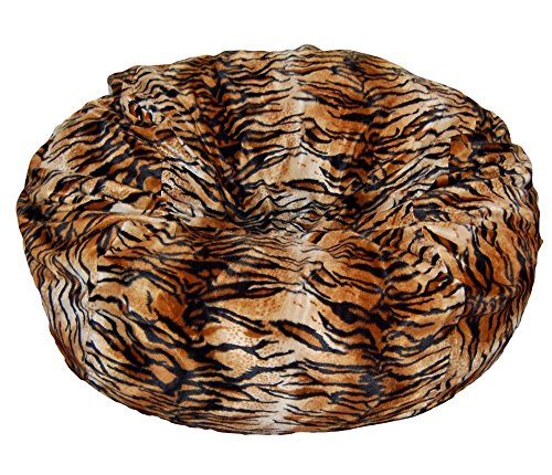 Ahh! Products Tiger Animal Print Fur Washable Large Bean Bag Chair