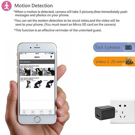 CITTATREND-Mini Cámera Espía Oculta de Vigilancia Anti-robo de Seguridad WiFi Alta Definición 1080P USB con Tarjeta de Memoria 32GB Controlando de APP para ...