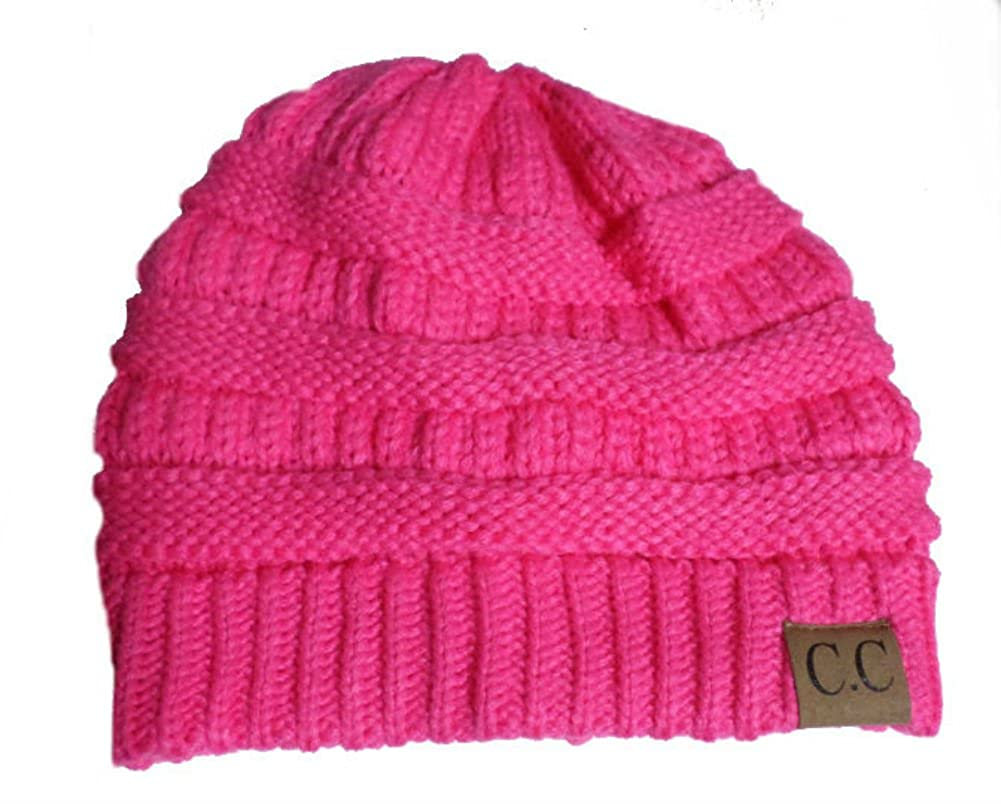 fe7015a24f9 Amazon.com  Thick Slouchy Knit Oversized Beanie Cap Hat (Candy Pink)   Clothing