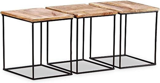 lingjiushopping mesa de Caff ¨ ¨ (madera maciza de mango 48 x 48 x 40 cm material: superficie de madera maciza de mango (con acabado mate) + bastidor de hierro dimensiones del
