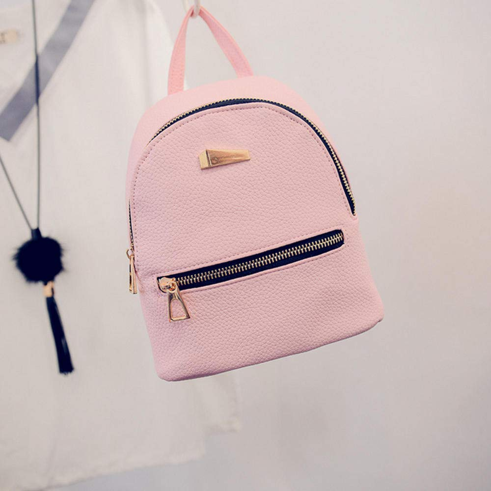 Creazrise Women Backpack,Girls Solid Color Leather Backpack Zipper Rucksack For Women (Pink A) by Creazrise (Image #2)