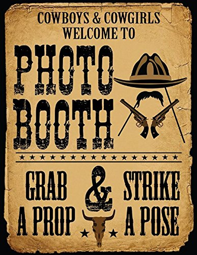 1 Pc Photo Booth Sign Grab a Prop and Strike a Pose Cowboy and Western -