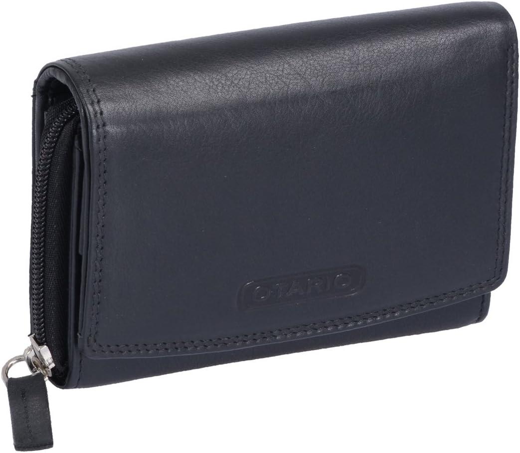 Noir 13x10,5cm Cuir v/éritable Porte-Monnaie pour Femme OTARIO