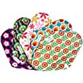 Wegreeco Bamboo Reusable Sanitary Pads (New Pattern), Cloth Pads, Cloth Sanitary Pads - Pack of 5 (Flower)