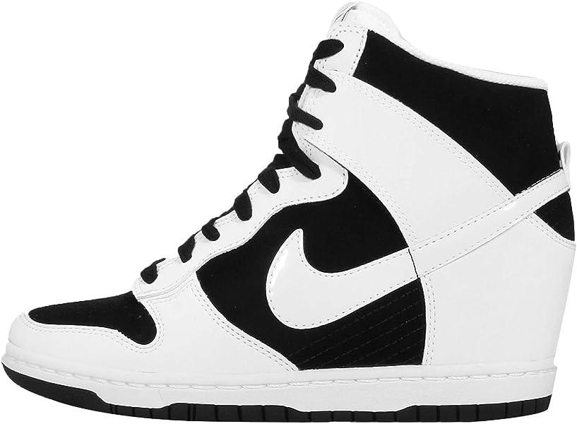 3112e63ba681 NIKE WMNS Dunk Sky HI Essential Wedge Sneakers 644877-007 Black White-White