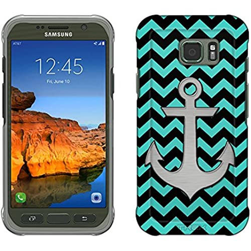 Samsung Galaxy S7 Active Case, Snap On Cover by Trek Anchor on Chevron Zig Zag Turquoise Black Slim Case Sales