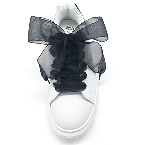 db13a76e4b6d8 Shoe Laces, Soft Casual Flat Satin Ribbon Shoelaces Sneaker Shoestrings for  Women Girls 4CM Wide