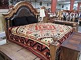 Cotton Blend Earth Tones Bedspread King Size Southwest Reversible Classic Tribal